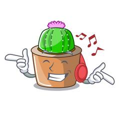 Listening music cartoon star cactus in flower pot vector