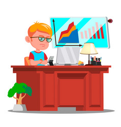Little boss boy serious child in big glasses vector