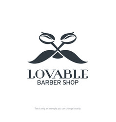 Lovable barber shop logo design vector