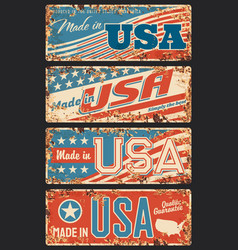 made in usa rusty metal plate signboard vector image