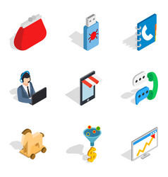 Mobile perfection icons set isometric style vector