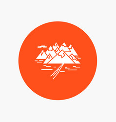 mountain hill landscape rocks crack white glyph vector image