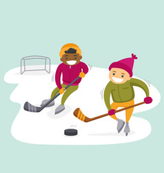 Multiethnic boys playing hockey on outdoor rink vector
