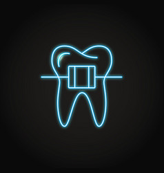 Neon dental braces icon in line style vector