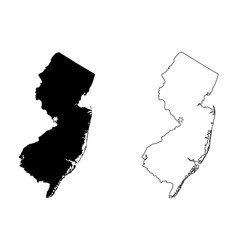 new jersey nj state map usa with capital city vector image