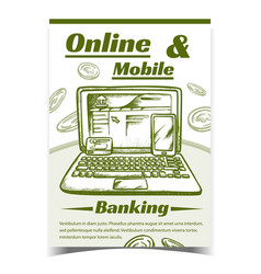 online and mobile internet banking banner vector image