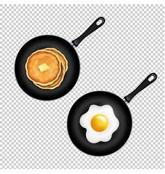Pan with pancake and fried eggs isolated vector