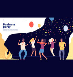 party landing happy young persons dance vector image