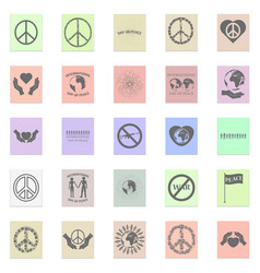 Peace set black icon on color sticker vector