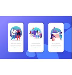 People get vaccine against virus mobile app page vector