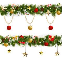 pine christmas border with garland vector image