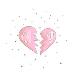 pink simple broken heart icon fun cartoon broken vector image