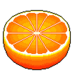 pixel orange fruit detailed isolated vector image