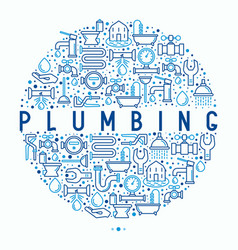 Plumbing concept in circle with thin line icons vector