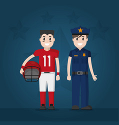 police officer and football player vector image