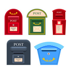 Post mailbox colourful collection on white vector