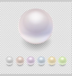 realistic pearl icon set variegated colors vector image