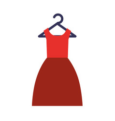 Red dress clothes formal on hanger vector