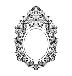 Rich baroque mirror frame french luxury vector