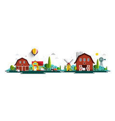rural landscape panorama with barn houses vector image