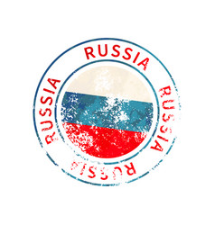 russia sign vintage grunge imprint with flag on vector image