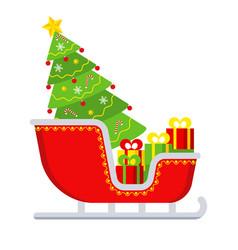Santa claus sleigh awith gift boxes greeting card vector