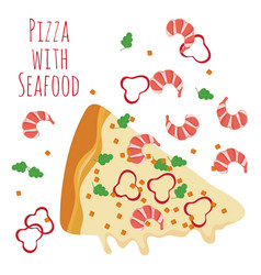 seafood pizza slice with ingredients isolated on vector image