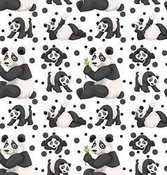 Seamless panda and black spots vector