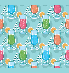 seamless pattern with hand drawn cocktails vector image