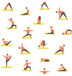 Seamless yoga poses asamas pattern people vector