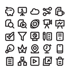 Seo and digital marketing line icons 11 vector