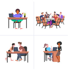 set colleagues working process mix race vector image
