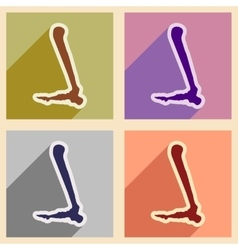 Set flat icons with long shadow Human leg bone vector