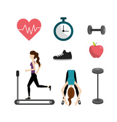 set healthy lifestyle icons to do exercise vector image