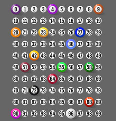 set lotto balls and numbers to them vector image