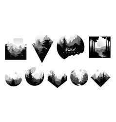set of monochrome geometric logos with wild vector image