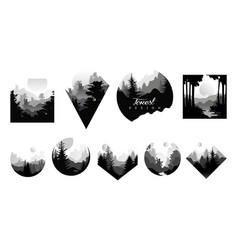 set of monochrome geometric logos with wild vector image