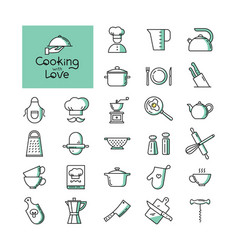 set of pixel-perfect two colors kitchen icons in vector image