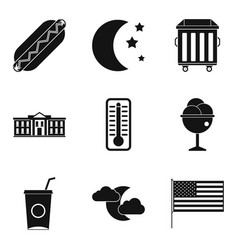 sidewalk food icons set simple style vector image