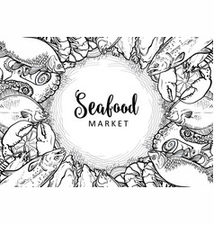 sketch underwater animal sea food pattern vector image