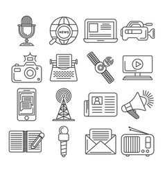 Social media and world news icon set vector