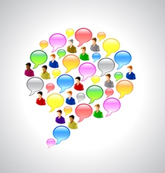 Speech bubbles and user icons background vector image