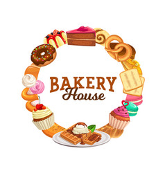 sweets and desserts round frame banner vector image