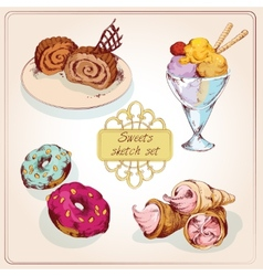 Sweets sketch colored set vector image