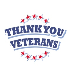 Thank you veterans logo isolated on white vector