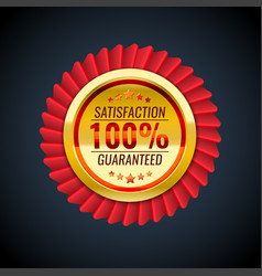the golden and red badge with satisfaction vector image