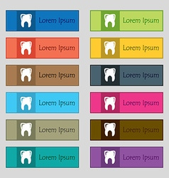 Tooth icon sign Set of twelve rectangular colorful vector image