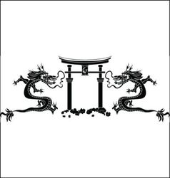 torii and dragons stencil vector image