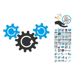 Transmission Wheels Rotation Icon With 2017 Year vector