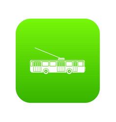 Trolleybus icon digital green vector